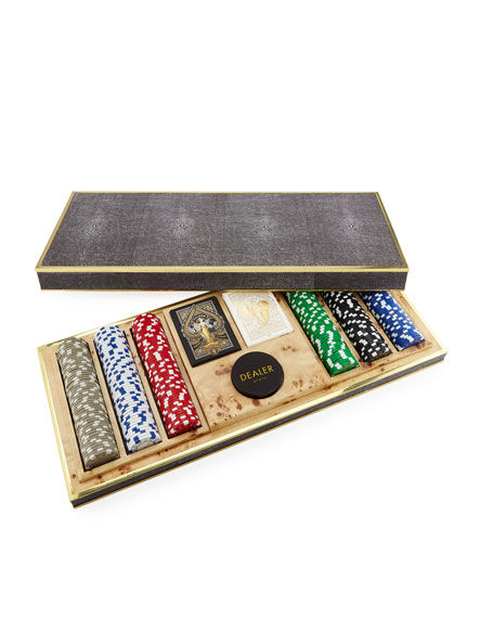AERIN Shagreen Poker Set