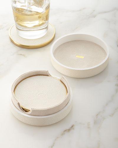 Faux Shagreen Coasters - Cream  Set of 4
