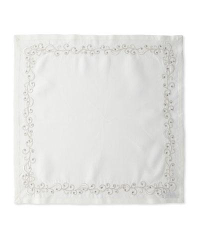Ritz Embroidered Linen Napkin  White/Silver