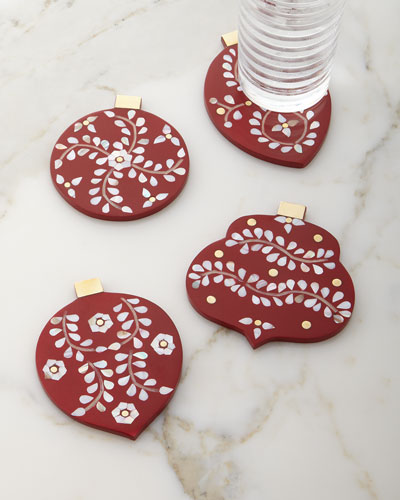 Christmas Ornament Coasters  4-Piece Set