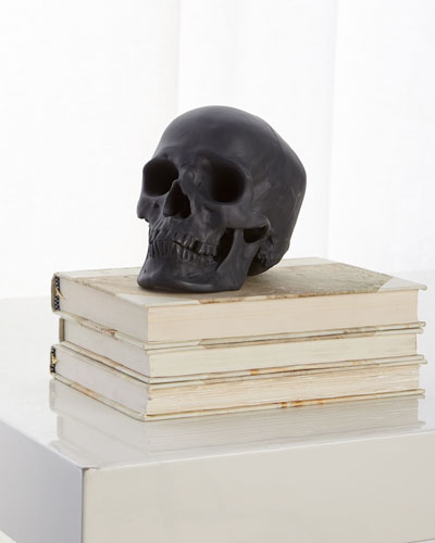 Black Matte Skull Sculpture