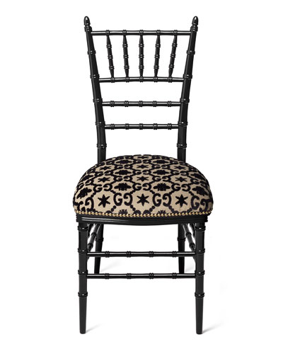 Chiavari Beechwood GG Jacquard Chair, Black (Made to Order)