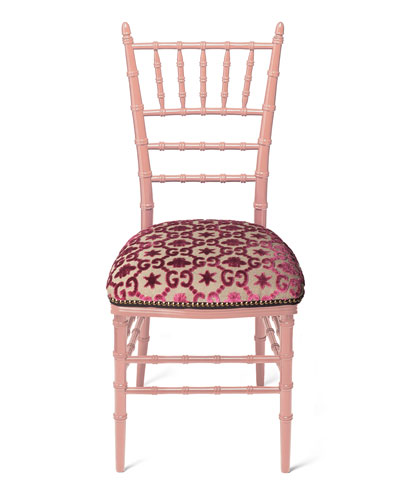 Chiavari Beechwood GG Jacquard Chair, Pink (Made to Order)