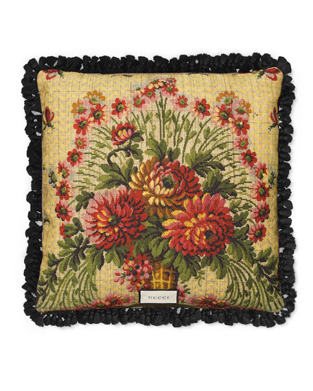GG Floral Cushion Pillow, Red/Beige