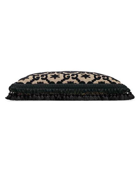 GG Floral Cushion Pillow, Black/Beige
