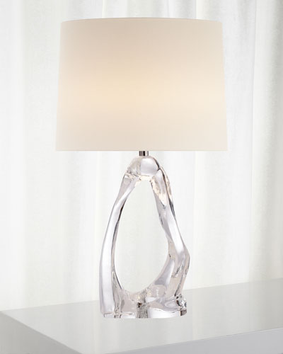 Cannes Clear Glass Table Lamp with Linen Shade