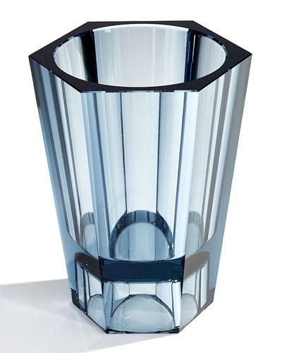 Large Reversible Crystal Vase  Blue