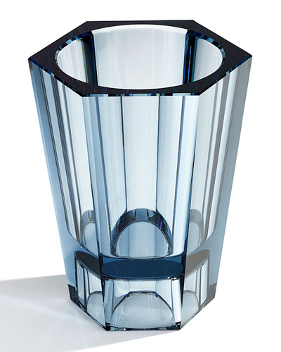 Medium Reversible Crystal Vase  Blue