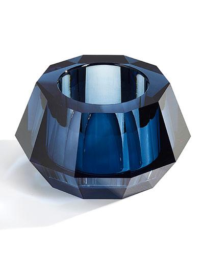 Round Crystal Votive Candleholder  Blue