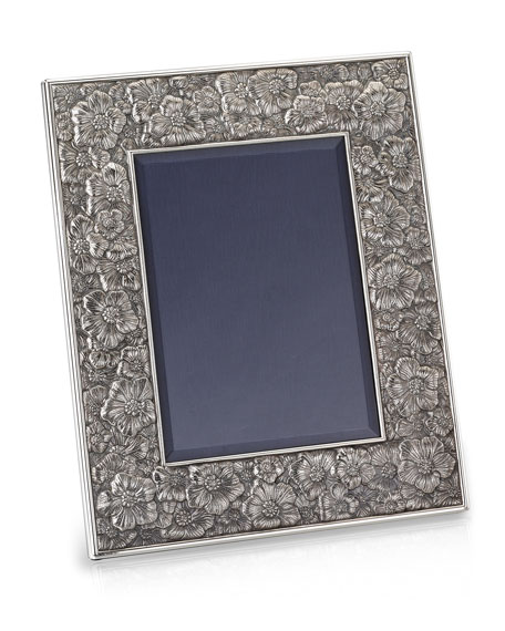 "Gardenia Silver & Leather Picture Frame, 5"" x 7"""