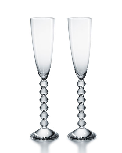 Two Vega Flutissimo Champagne Flutes  Clear