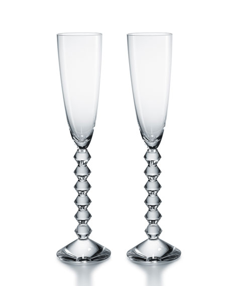 Two Vega Flutissimo Champagne Flutes, Clear