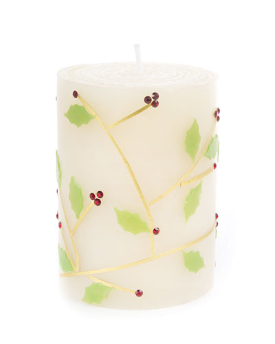 Holly Pillar Candle