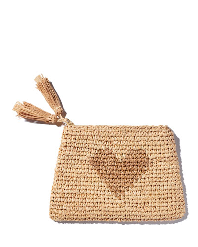Heart Natural Raffia Zip Pouch