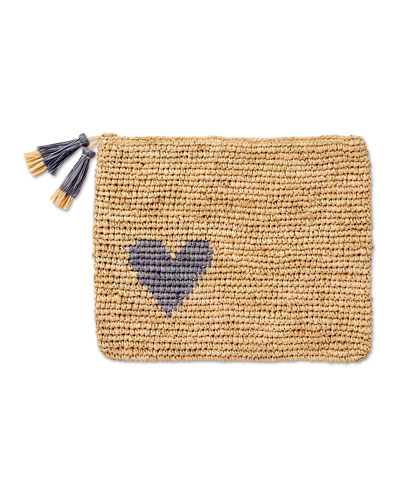 Heart Raffia Zip Pouch, Blue