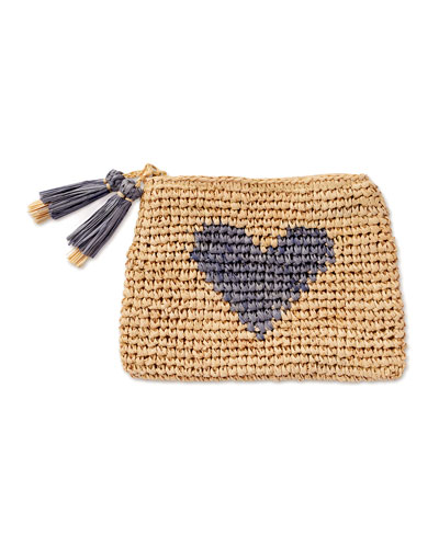 Heart Raffia Zip Pouch  Blue