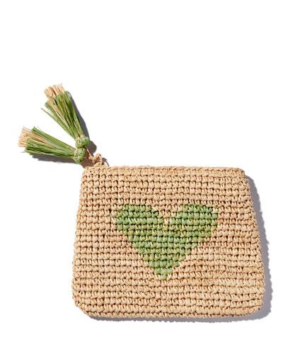 Heart Raffia Zip Pouch, Chartreuse