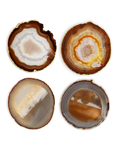 Natural Agate Coasters, Set of 4