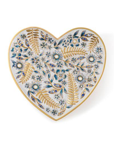 Indigo Floral Heart Trinket Tray
