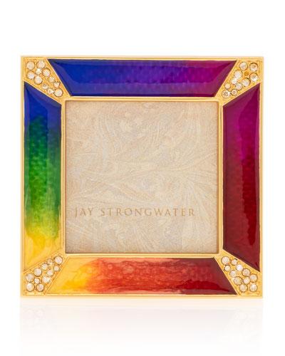 Rainbow Pave Corner Square Frame  2Sq.
