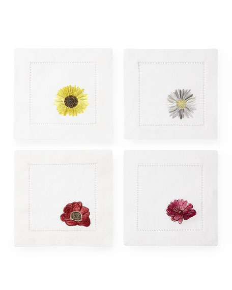 Embroidered Flowers Cocktail Napkins, Set of 4