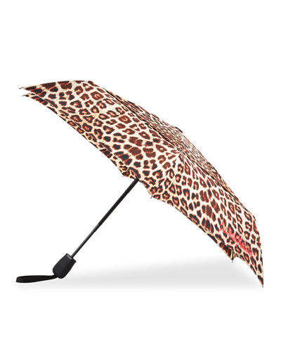 WindPro Flatwear Vented Automatic Open/Close Compact Leopard Print Umbrella