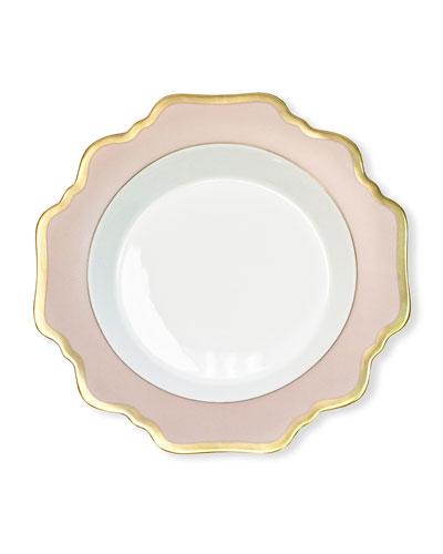 Dusty Rose Rim Soup Bowl