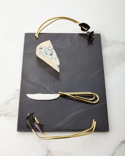 Calla Lily Midnight Cheese Board with Knife