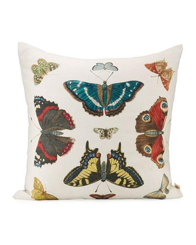 Mirrored Butterflies Carmine Pillow