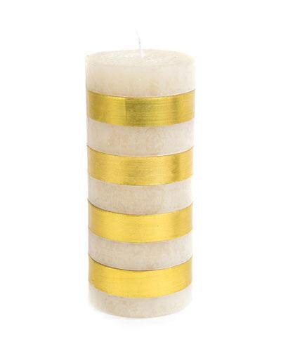 Gold Bands Pillar Candle, 6