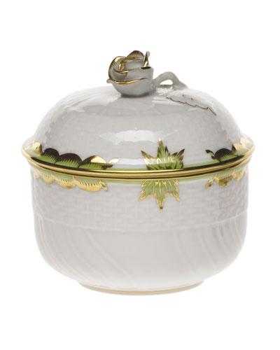 Princess Victoria Green Covered Sugar Dish with Rose