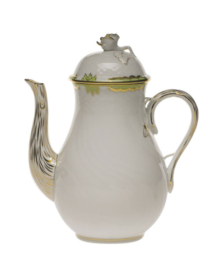 Princess Victoria Green Coffee Pot with Rose
