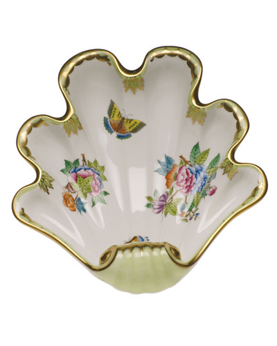 Queen Victoria Green Large Shell Dish