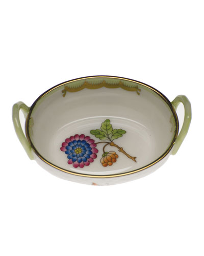 Queen Victoria Green Small Basket with Handles