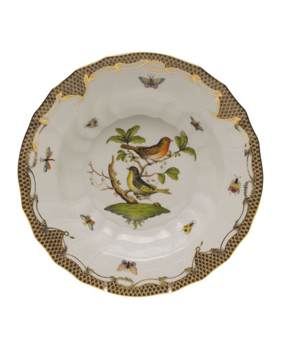 Rothschild Bird Brown Motif 03 Rim Soup Bowl