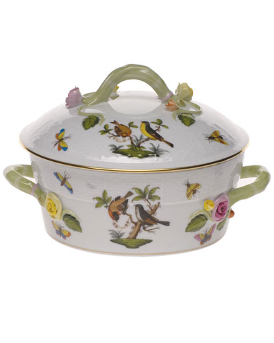 Rothschild Bird Small Covered Vegetable Dish with Branch Handles
