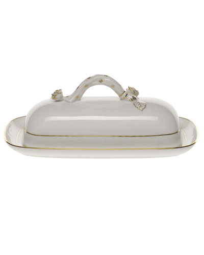 Golden Edge Butter Dish with Branch Handle