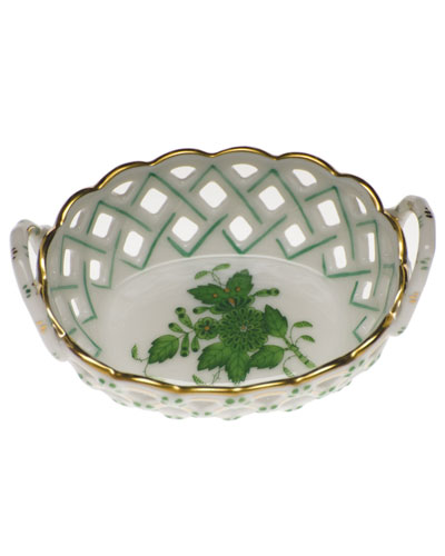 Chinese Bouquet Green Small Openwork Basket with Handles