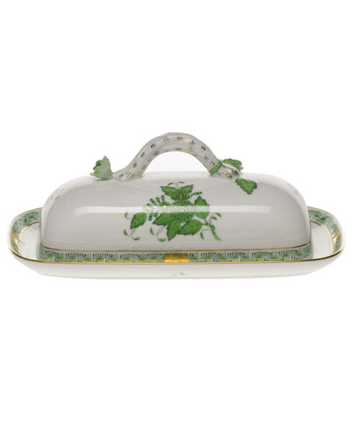 Chinese Bouquet Green Butter Dish with Branch Handle
