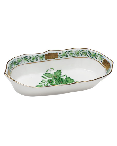Chinese Bouquet Green Narrow Pin Dish