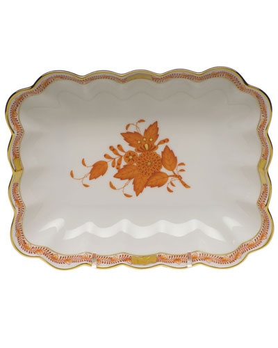 Chinese Bouquet Oblong Dish - Rust