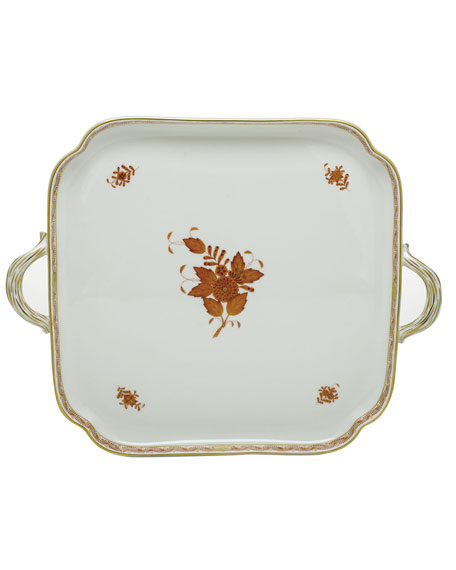 Chinese Boutique Rust Square Tray with Handles