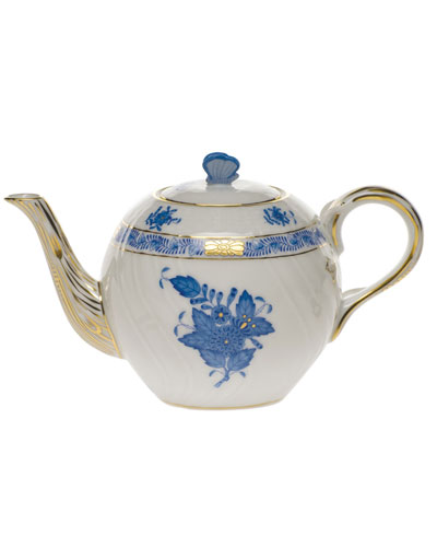 Chinese Bouquet Blue Teapot with Butterfly