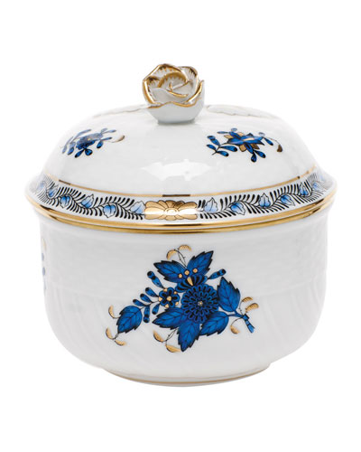 Chinese Bouquet Black Sapphire Sugar Bowl