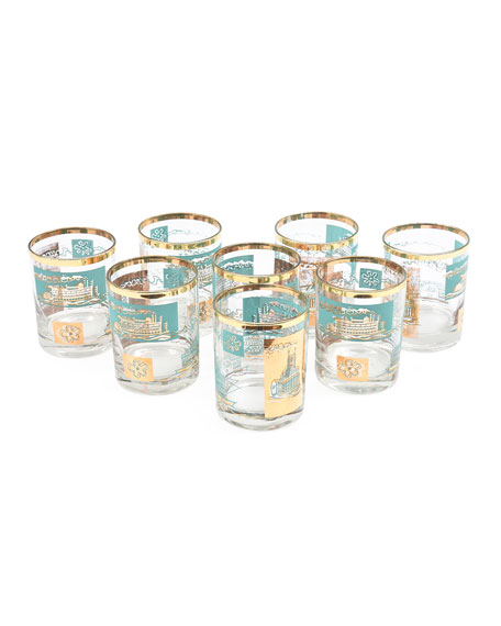 Turquoise/Gold Double Old Fashioned Glasses, Set of 8
