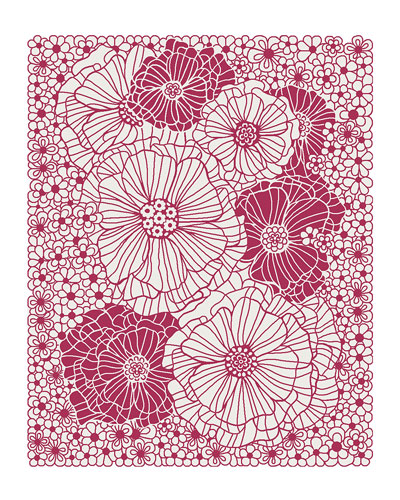 Raspberries and Cream Floral Rug, 8' x 10'