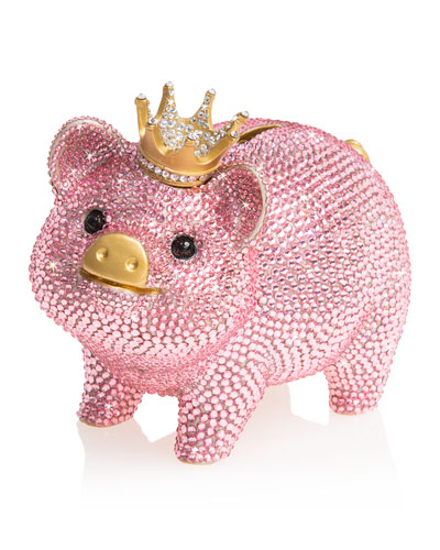 Pave Piggy Bank with Crown