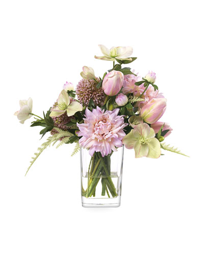 Faux Allium & Dahlias in Glass Vase