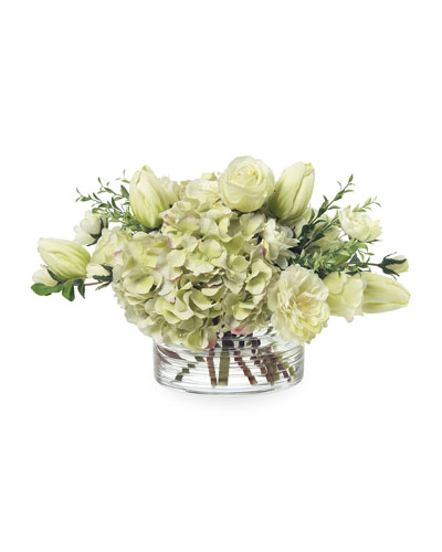 Faux Green Tulips & Hydrangea in Glass Bowl