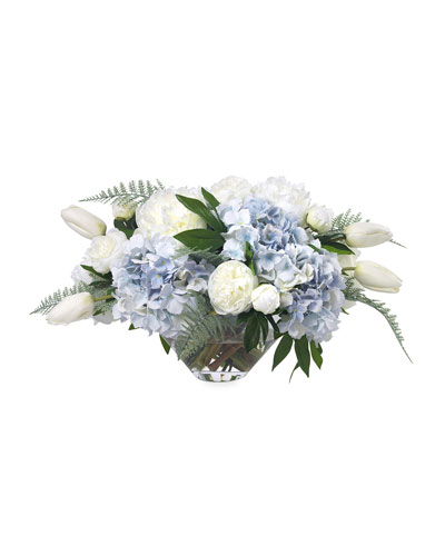 Faux Light Blue Hydrangea & Peonies in Glass Bowl